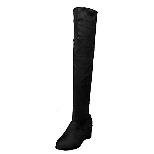 Botas por Encima de la Rodilla para Mujer cómodas Informales de Ante Stetch Zapatos Largos de Tubo Botas de Invierno con tacón Oculto para Mujer Botas Altas hasta el Muslo (Ropa)