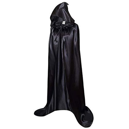 Horoshop Capa longa com capuz de cetim para Halloween, fantasia de cosplay de vampiro demônio