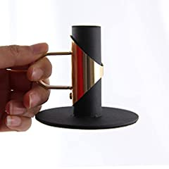 VINCIGANT Black Candle Holder with Handles,Candld Holder for Taper Candles,Table Decoration Dinner Wedding Party(4pcs) #2