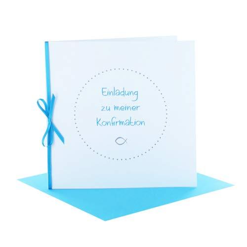 Einladung zur Konfirmation Quadratisch brillantweiß mit Schleife