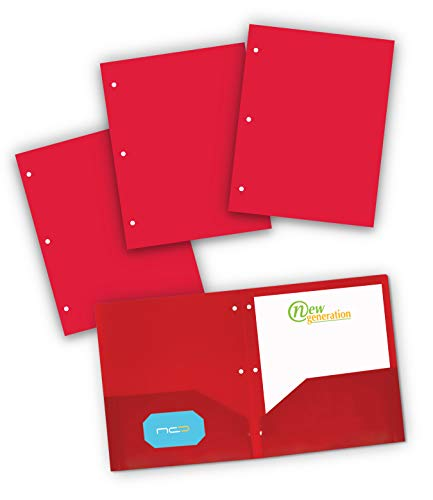 NEW GENERATION - Poly Plastic Red 2 Pocket Folders with 3 Holes Punch, 3 Pack Heavy Duty for Letter Size Papers, Includes Business Card Slot, for School, Home, Office, Work and Storage