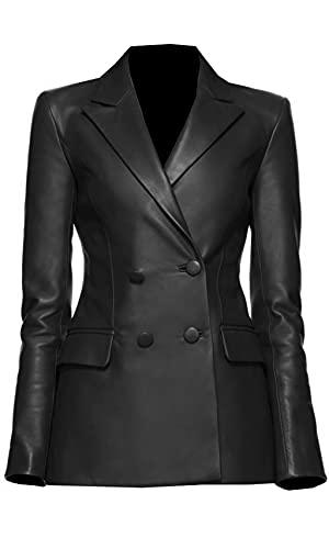 TIPTOP Emima - Chaqueta de piel auténtica con dos botones y bolsillos con solapa para mujer, tamaño regular y grande, color negro y marrón