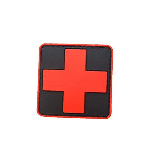 WFIT Brazalete De La Cruz Roja Médico Táctico De PVC 3D 1pc Cruz Roja Cruz Patch Rubber Divisa del Brazal del Negro Rojo