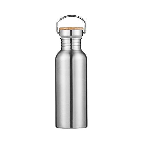 Tongliya 600 ml, botella deportiva de acero inoxidable 304, tapa de bambú por separado (plateada)