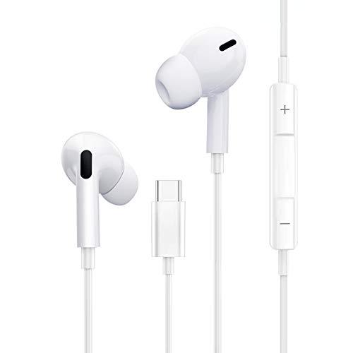 Auriculares USB Tipo C In-Ear Sonido Estéreo con Micrófono y Control de Volumen, Compatible con Huawei, Samsung, Xiaomi, iPad Pro y más Dispositivos de Interfaz Tipo C