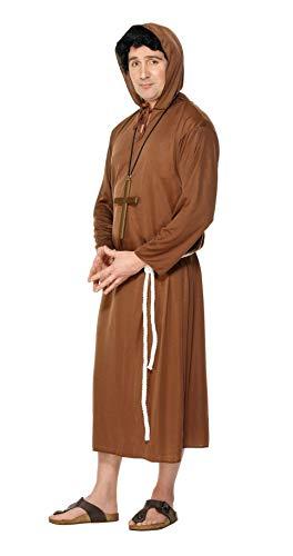 Smiffy\'s Smiffys Disfraz de Monje, Marrón, con túnica con Capucha y cinturón, Color, M 20424M