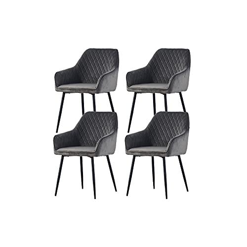 Wohnzimmerstuhl Esszimmerstuhl 4er Set aus Stoff (Samt) Farbauswahl Retro Design Armlehnstuhl Stuhl mit Rückenlehne Sessel Metallbeine Schwarz (Gray, 4)