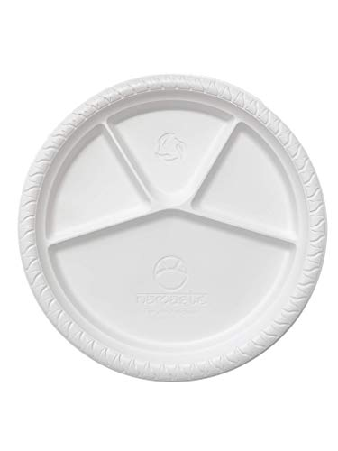Disposable Namaste 25 Party Dinner Plates,12.5 inch Platter Size, Eco-friendly Compostable Microwave Safe Biodegradable, Heavy Duty