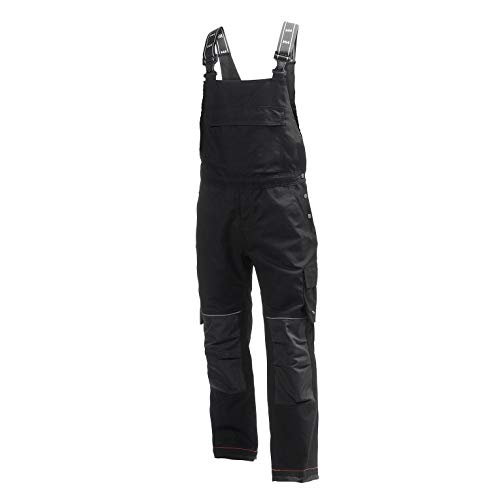 Helly Hansen Work Wear Men's Chelsea Construction Work Bib Pants, Black/Charcoal, 32Wx30L