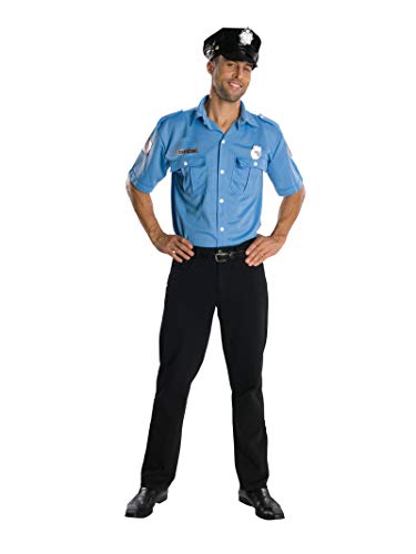 Rubie's Heroes and Hombres Adult Police Officer Shirt and Hat, Blue, Standard