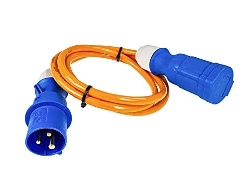 as - Schwabe Cable de extensión CEE Caravan 1,5 m de poliuretano, enchufe CEE y enchufe CEE con tapa abatible, 230 V/16 A/3 pines, cable de extensión CEE, IP44, fabricado en Alemania, color naranja