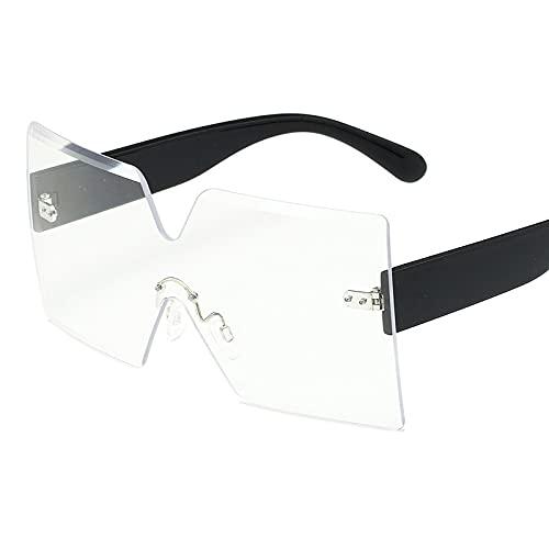 FENGHUAN Gafas de sol de tendencia sin marco para exteriores Gafas de gran tamaño con diseño de personalidad Gafas desolunisex para conductorTransparentes