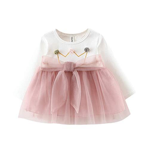Vestido 6-18 Meses Tutú para Bebé Malla Vestidos para Niñas Princesa Falda de Tul de Fiesta con Bowknot Pompón Piel Manga Larga Algodón Punto Lindo