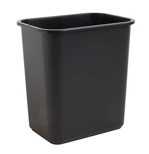 United Solutions 7 Gallon   28 Quart Efficient Trash Wastebasket, Fits Under Desk, Small, Narrow Spaces in Commercial, Kitchen, Home Office, Dorm, Easy to Clean, 1 Pack, Black