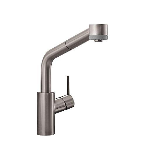 hansgrohe Talis S Premium 1-Handle 13-inch Tall Stainless Steel Kitchen Faucet with Pull Down Sprayer with QuickClean in Stainless Steel Optic, 04247800