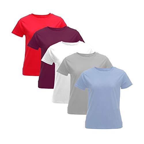 (Pack 5) Camiseta Mujer Algodón con Manga Corta Cuello Redondo