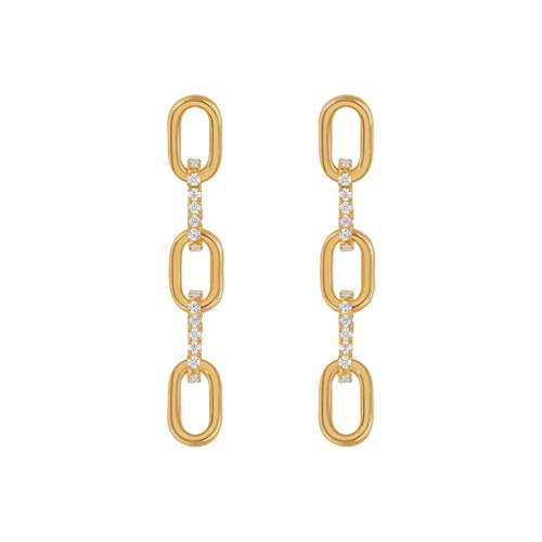 QIN 2021 Neue Ohrringe für Frauen Kettenförmige Ohrstecker im koreanischen Stil Mikro-Gepunktete Backstein-High-End-Brautgeschenkohrringe Schmuckparty