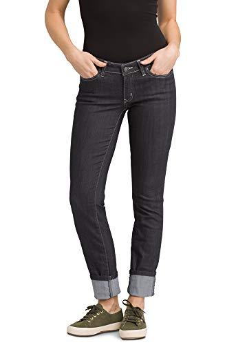 prAna - Women's Kara Soft Low-Rise, Narrow-Leg Stretch Jeans with Cuffed Ankle, Denim, 14