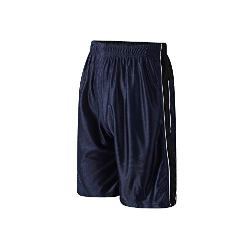 PTSports Men's Basketball Gym Shorts Running Workout Shorts with Pockets & Drawstring Blue-L