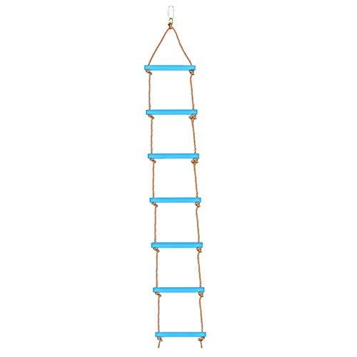 Queta Strickleiter Kinder Outdoor Kletterleiter aus Kunststoff mit 6 Prossen Länge 2M belastbar bis 120kg ( inkl. großer Steckverbinder)