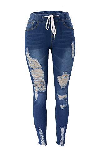Atditama Women's Elastic Waist Drawstring Jeans Distressed Ripped Broken Destroyed Denim Jogger Pants Dark Blue US 2/4