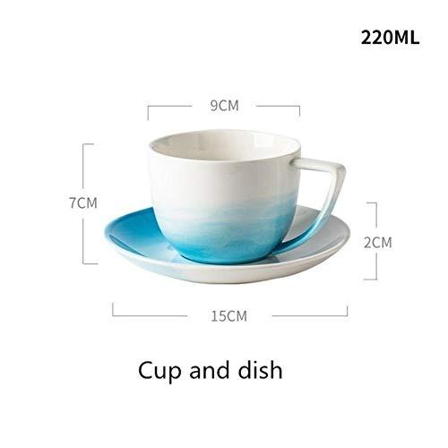 Servies voor servies Servies Nordic kleurverloop Blauwe kleur Keramiek bord Kommenset Fruitschaal Dessertbord Creatief dienblad Plat, kop en kom