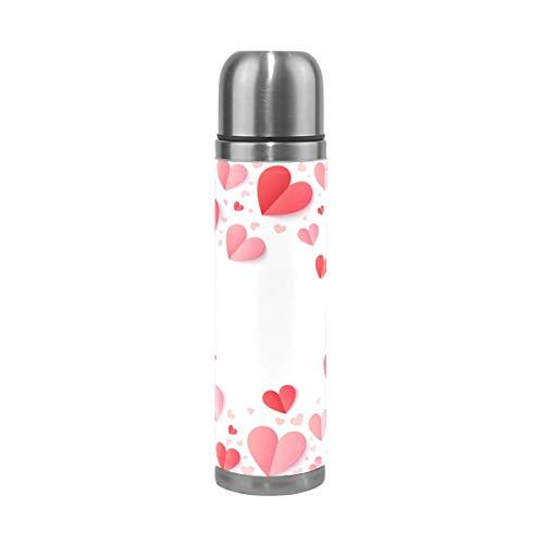 AEMAPE Día de San Valentín Corazón Te Amo Verano Primavera Boda Aislada Frasco de vacío Taza Termo Botella para Agua Caliente Acero Inoxidable 500 ml ~ A4