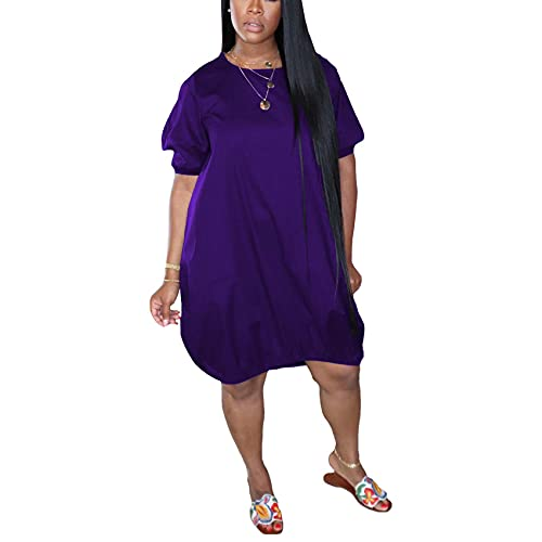 Vestido De Falda De Burbuja Informal De Color SóLido con Cuello Redondo Y Talla Grande para Mujer