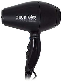 Salon Studio Professional - Zeus Digital Power - Secador de Pelo Profesional de Iones - Secador de Pelo Iónico con 3 Boquillas - Color Negro
