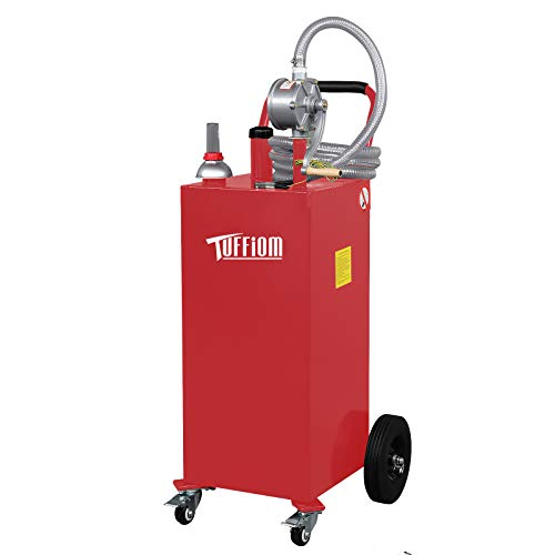 TUFFIOM 35 Gallon Portable Gas Caddy with Wheels, Fuel Transfer Gasoline Tank Reversible Rotary Hand Siphon Pump, Fuel Storage Tank for Automobiles ATV Car Mowers Tractors (Red)