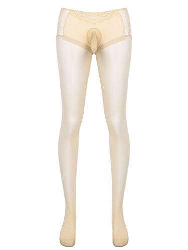 TiaoBug Herren Strumpfhose mit Penishülle Pantyhose Männer Reizwäsche Transparent lange Unterhosen Skinny Leggings Strech Tights Erotik Hose Nude L