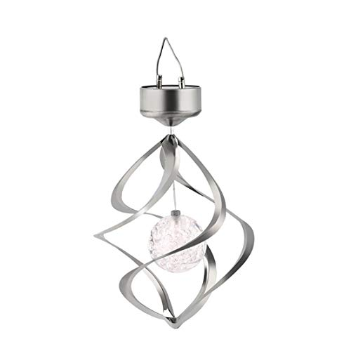 BiaBai Carillones de viento LED con energía Solar que cambian de color, Spinner de viento para colgar al aire libre, luz de jardín en espiral, decoración de patio