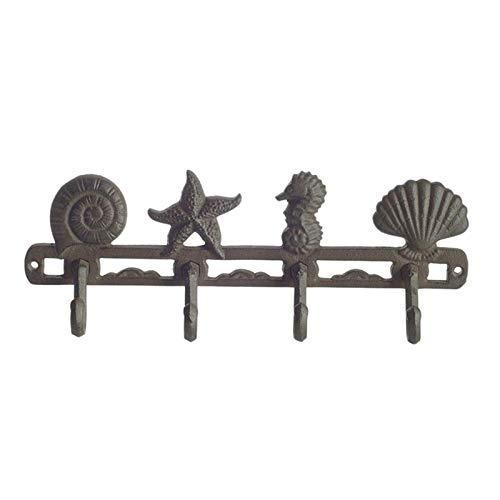 Kunyun Perchas de pared de hierro fundido con estrellas y conchas de hipocampo con 4 ganchos para armarios decorativos montados en la pared.