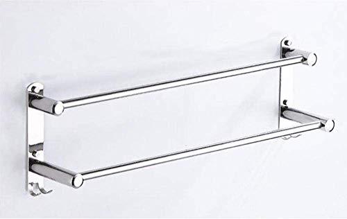 Estante de toalla, estante de toalla de doble toalla de acero inoxidable, montaje en pared, impermeable y a prueba de herrumbre, para baño con gancho para baño-50 cm-3_pole FACAI ( Color : 50cm2 Rod )