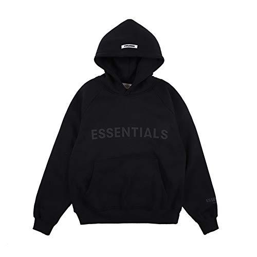 """AvivahcS Fashion Fog Vlies-Sweatshirt, mit Schriftzug """"Essentials"""", Kapuzenpulli für Damen und Herren, Schwarz , XL"""
