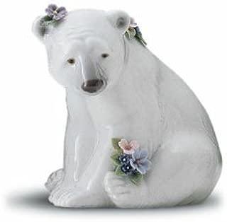 Lladro Polar Bear Seated with Flowers