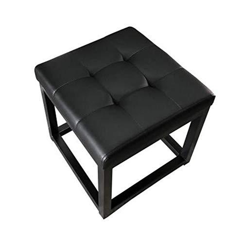 Taburete De Sofá Setchool Otomano De Cuero Set De Reposapiés Seat Moderno Home Sala De Estar Dormitorio Taburete Rectangular Adecuado para La Decoración del Hogar (Color : Black, Size : 40x40x40cm)