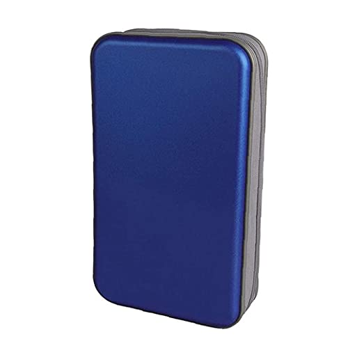 YepYes Bolsa Caja De CD CD CD Holder Caja De La Carpeta De DVD DVD Carpeta del Organizador del Almacenaje De Plástico Duro 80 Capacidad Portátil Azul