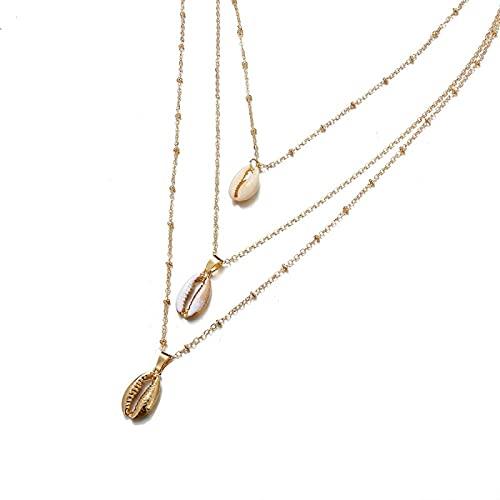 ShFhhwrl Collar Collar con Colgante De Concha De Tres Capas De Oro De Concha Natural, Joyería Bohemia 43243