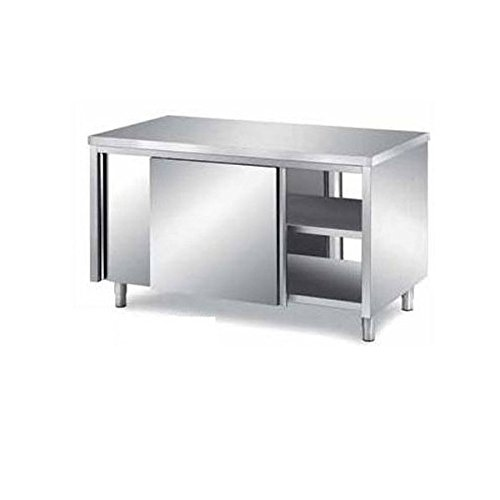 Mesa armadiato pasador de acero inoxidable con puertas correderas sobre dos lados Dim. cm 190 x 60 x 85h: Amazon.es: Hogar
