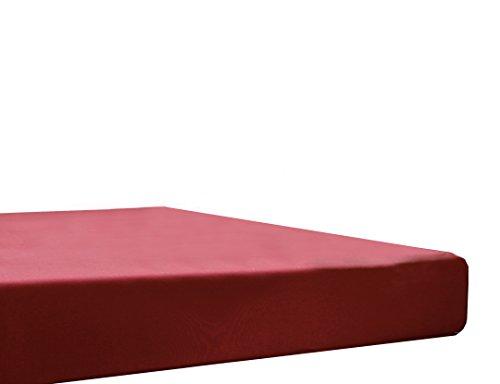 Blanc des Vosges Uni Jersey Drap housse extensible Coton Carmin 70x190 cm à 80x200 cm