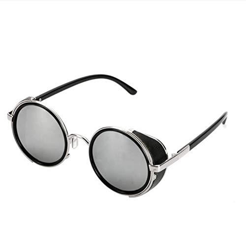 Ljtao Gafas De Sol Mujer Gafas Redondas Gafas Hombres Visera Lateral Círculo Lente Unisex Estilo Retro Vintage Punk