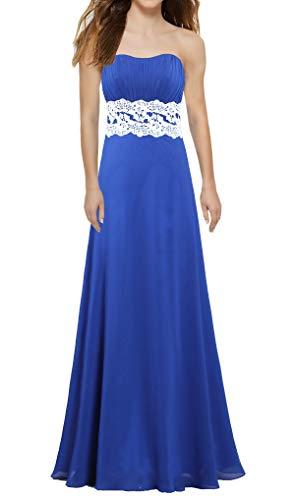 ANTS Women's Strapless Chiffon Lace Bridesmaid Dresses Long Homecoming Size 4 US Royal Blue