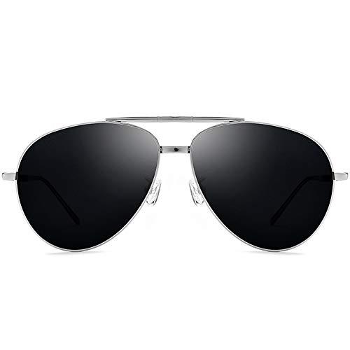 LG Snow Gafas De Sol De Titanio Puro Gafas Ultraligeras for Hombres Gafas De Sol Polarizadas Plegables Lente Gris Protección UV400