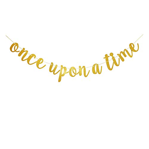 Once Upon A Time Banner, Gold Sign Garlands for Bridal Shower, Wedding Engagement, Engaged, Birthday, Bachelorette Party Decors Supplies