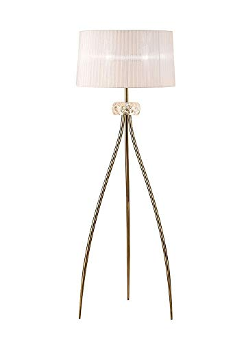 Inspired Mantra - Loewe - Lámpara de pie 3 luces E27, latón antiguo con pantalla blanca