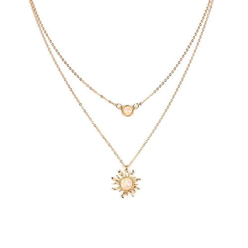 weichuang Multi Layer sun flower Pendant Choker Necklace Gold Color Tassel butterfly Necklace for Women (Metal Color : 01)
