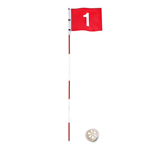 DURARANGE Putting Green Flags, Golf Flagsticks for Yard, Practice Hole Cup with Flag, Golf Pin Flags for Standard Golf Course, 7-Foot Height, Portable 6-Section Design with Connectors
