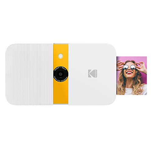 KODAK Smile Instant Print Digital Camera – Slide-Open 10MP Camera w/2x3 Zink Paper, Screen, Fixed Focus, Auto Flash & Photo Editing – White/Yellow
