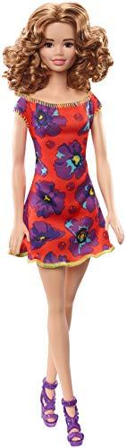 Barbie - Fashionista Muñeca con Cabello Castaño Ondulado y con Vestido Rojo con Flor (Mattel GBK95) , color/modelo surtido